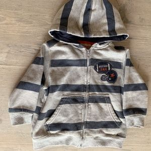 Zip Up Striped Football Hoodie Size 24 mo Thick